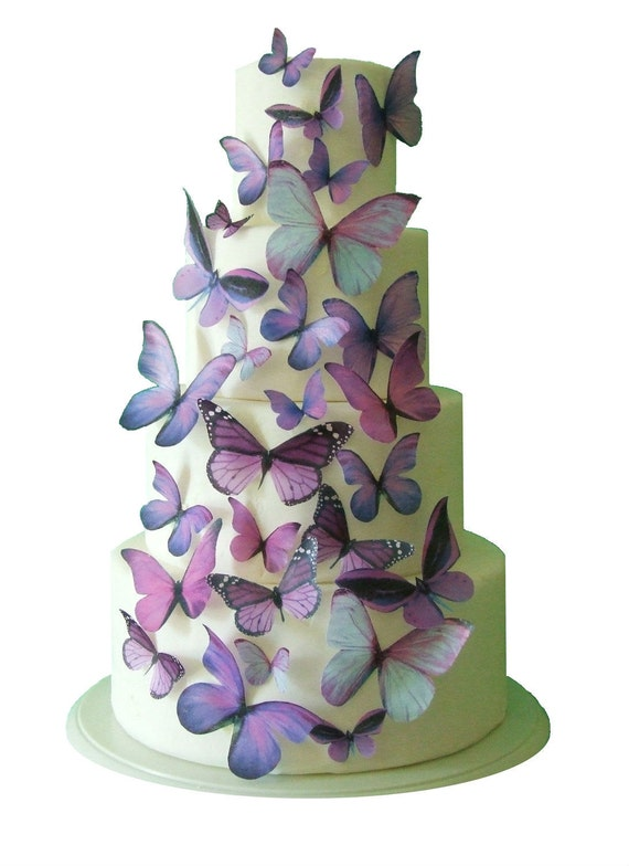 Butterfly Edible Cake Images : Wedding Cake Topper - Edible Butterfly Winter WEDDING ...