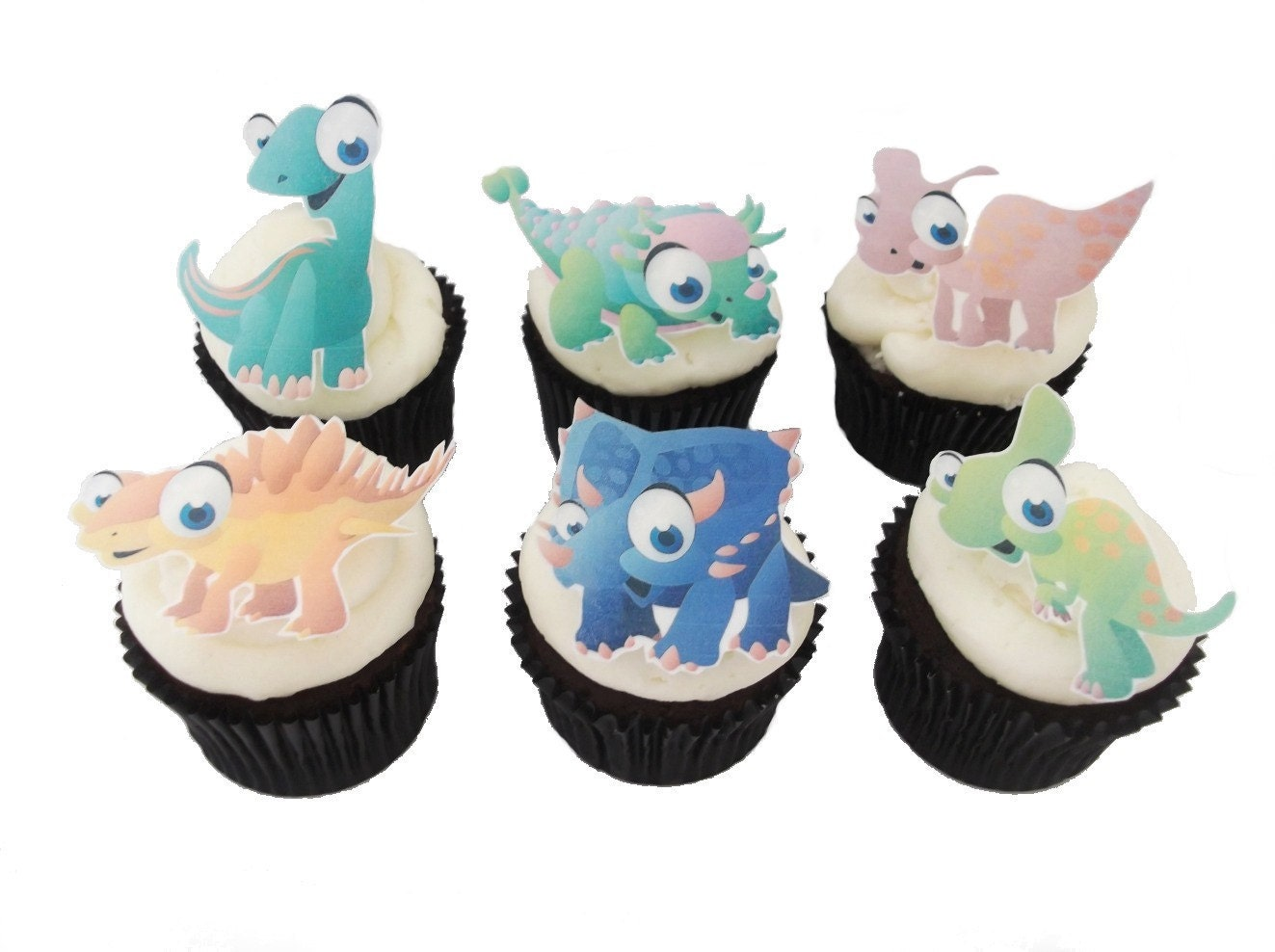 12 EDIBLE DINOSAUR Cupcake Toppers Theme by incrEDIBLEtoppers