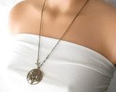 tree necklace, boho jewelry, personalized necklace, tree of life necklace, nature jewelry, long 24 inch necklace, tree bird jewelry