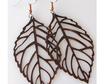 leaf earrings, bridesmaid gift, rustic wedding, copper leaf jewelry, country wedding gift, nature jewelry antique copper jewelry, bridal