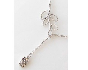 owl lover gift, small owl lariat necklace, gift for mom, friendship gift best friend, leaf lariat necklace animal jewelry, woodland jewelry
