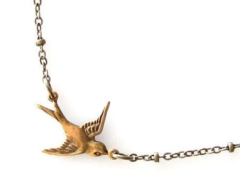 small bird necklace, bridesmaid gift, sparrow necklace, sideways necklace, rustic wedding, dainty necklace simple. antique brass necklace