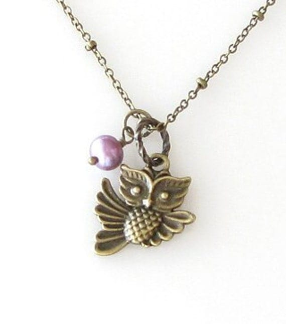 owl necklace, owl jewelry, antique brass necklace, animal jewelry owl charm necklace, purple pearl