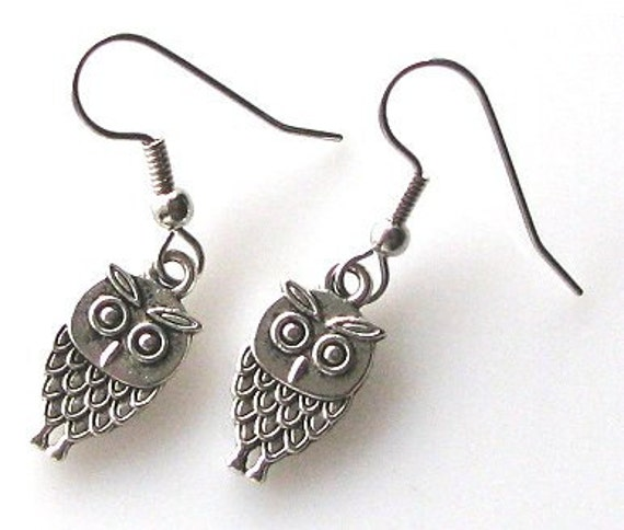 baby owl earrings, owl jewelry, hypoallergenic earrings for sensitive ears, bird earrings owl accessories, surgical steel earrings Jewelry