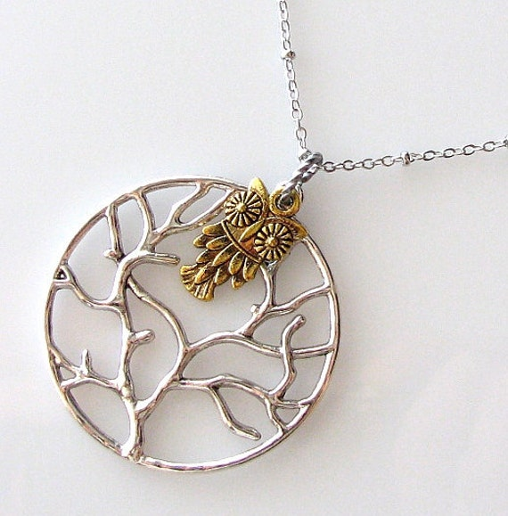clearance sale jewelry, tree of life necklace, owl necklace, gift under 15, long necklace, tree necklace, owl jewelry, animal jewelry
