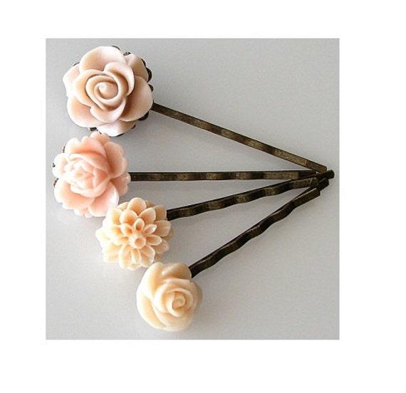 bobby pins flower hair pins, hair accessories, flower bobby pins set, soft peach beige ivory flower