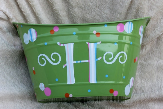 Large Oval Heavy Duty Plastic Bin Available in Turquoise, Red - Personalized Gift - Teacher Appreciation - Baby Shower