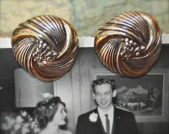 1950s Chunky Sterling Gold Washed Clip On Earrings.