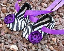 Purple Zebra Print Baby Ballerina Shoes----Customize Colors