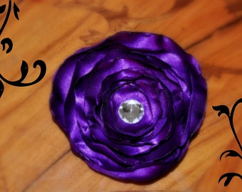 Large Purple Satin Flower Hair Clip