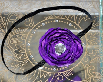 Purple Satin Flower Headband