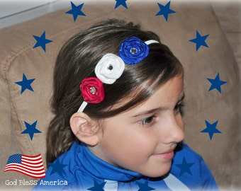 Patriotic Red White Blue Satin Flower Headband....