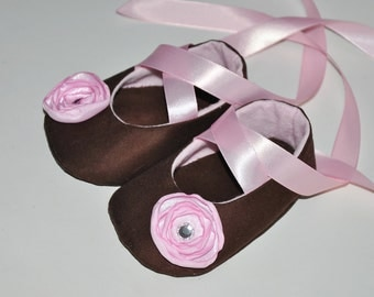 Pink and Brown Diamond Baby Ballerina Shoes