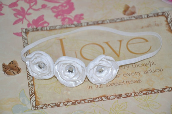 All White Satin Flowers Headband.....Customize Colors