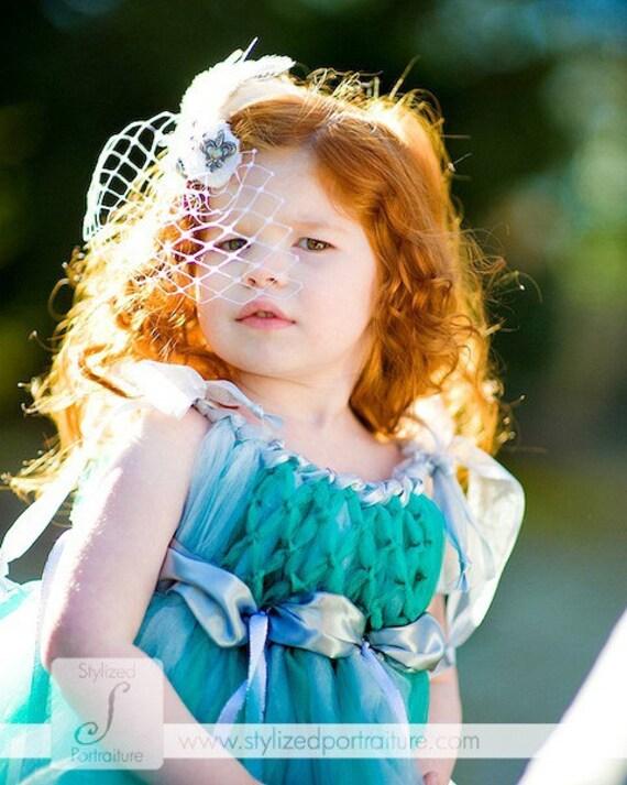 Wedding, Little flower girl tulle dress, Fairy ware, Teal