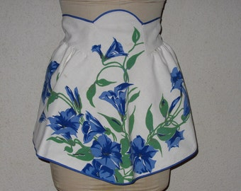 Waist Apron Recycled Tablecloth Fabric White Blue Flowers Samantha