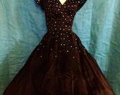 1950s Black Satin Dress with Rhinestone Encrusted Bodice L/XL