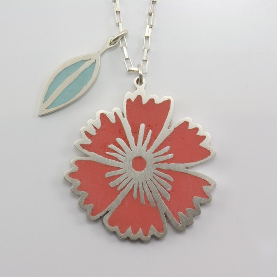 HERBARIUM carnation flower and little leaf sterling silver resin pendant in red and mint green