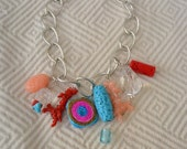 Ocean summer necklace - coral beads red multicoloured statement chain jewellery necklace