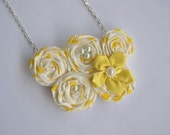 Yellow spring necklace - fabric rosettes yellow flower necklace