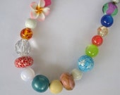 Multicoloured spring necklace - fun beaded colourful summer necklace