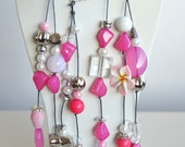 Pink fuchsia statement summer necklace -  long necklace