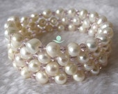 Pearl Bracelet - 8 inches 7-8mm White Freshwater Pearl Bracelet - Free shipping