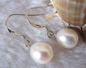 Pearl Earrings - AAA 8.0-9.0mm Ivory Freshwater Pearl Dangle Earrings FD2 - Free shipping