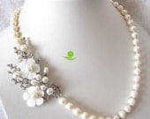 Wedding Necklace, Statement Necklace - 20.5 inch 8-9mm White Freshwater Pearl Necklace with Flower - Free Shipping
