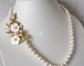 Wedding Necklace, Statement Necklace - 20.5 inch 8-9mm White Freshwater Pearl Necklace with Flower Y - Free Shipping