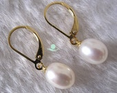 Pearl Earrings - AAA 8.0-9.0mm Ivory Freshwater Pearl Dangle Earrings D3S Y - Free shipping