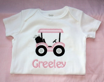 GIRLS Golf Cart Personalized Onesie or tshirt