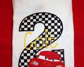 Personalized CARS Lightning McQueen Race Car Birthday Onesie or Tshirt