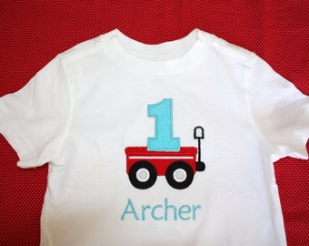 Personalized Birthday Red Wagon with Number Tshirt or Onesie for Boys or Girls