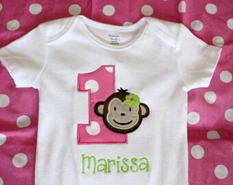 Personalized Birthday Mod Monkey Tshirt or Onesie for Boys or Girls