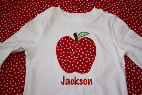 Personalized Applique Fall Apple onesie or tshirt