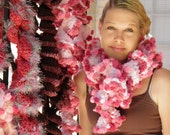 Pink Scarf Handmade Ruffled Convertible Neckwarmer Trimmed with Hot Pink PomPoms HOLIDAY GIFTS