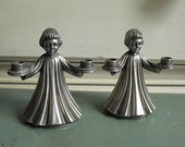 SALE PRICED Vintage Pair of Cast Metal Alter Boy Candle Holders