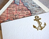 Nautical notecard set with map lined envelopes