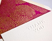 Thank you notecard set with gold mums on fuschia paper lined envelopes