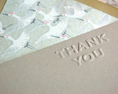 Thank you notecard set with japanese crane lined envelopes