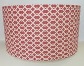 Medium Modern Drum Lampshade in coral geometric fabric