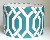 Drum lamp shade in aqua trellis fabric