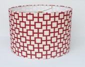 Medium Drum Lamp Shade - Red Geometric Linen Fabric