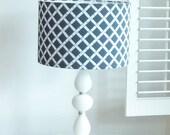 Vintage Hob Nail Lamp and Blue Geometric Lamp Shade