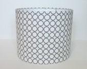 Small Drum Lampshade - Robert Kaufman Metro Living Circles in Grey
