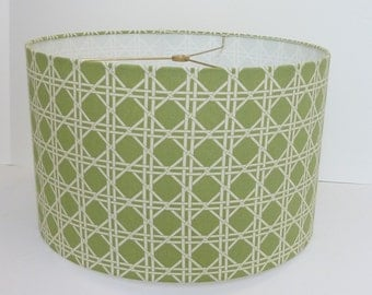 Drum lampshade in Waverly criss cross fabric in green