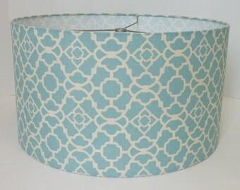 Drum lampshade in Waverly lattice aqua geometric fabric