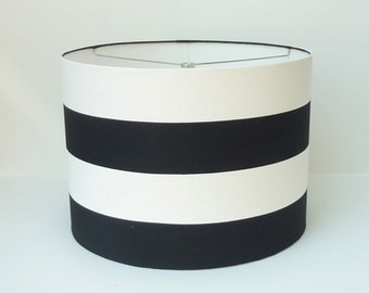 Custom Lampshade in Wide Navy Blue and White Stripe with Gold Lining