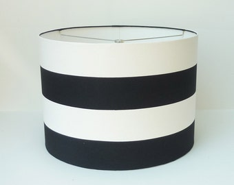 Custom Lampshade in Wide Navy Blue and White Stripe - Size Small